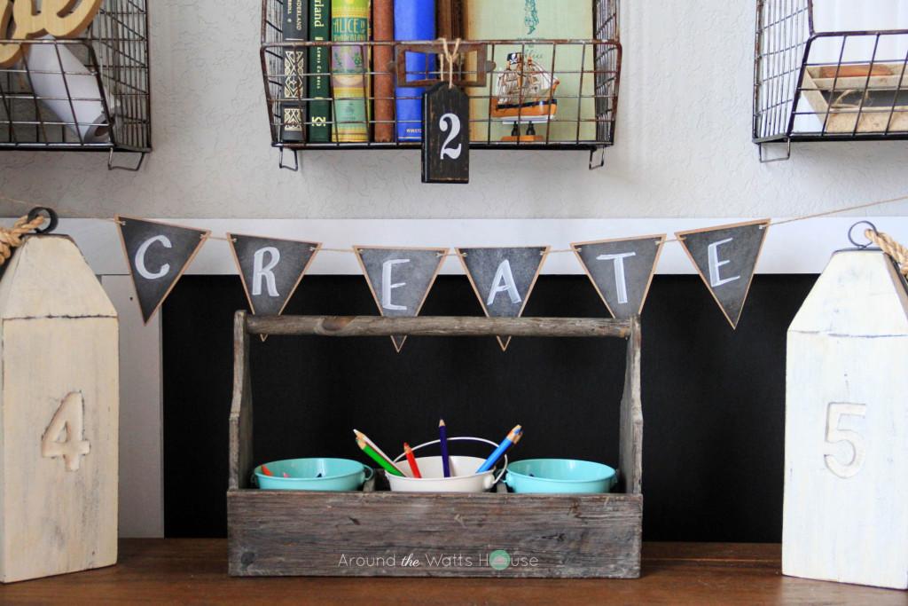 Kids Art Space-Coastal Decor-Home Office-One Room Challenge