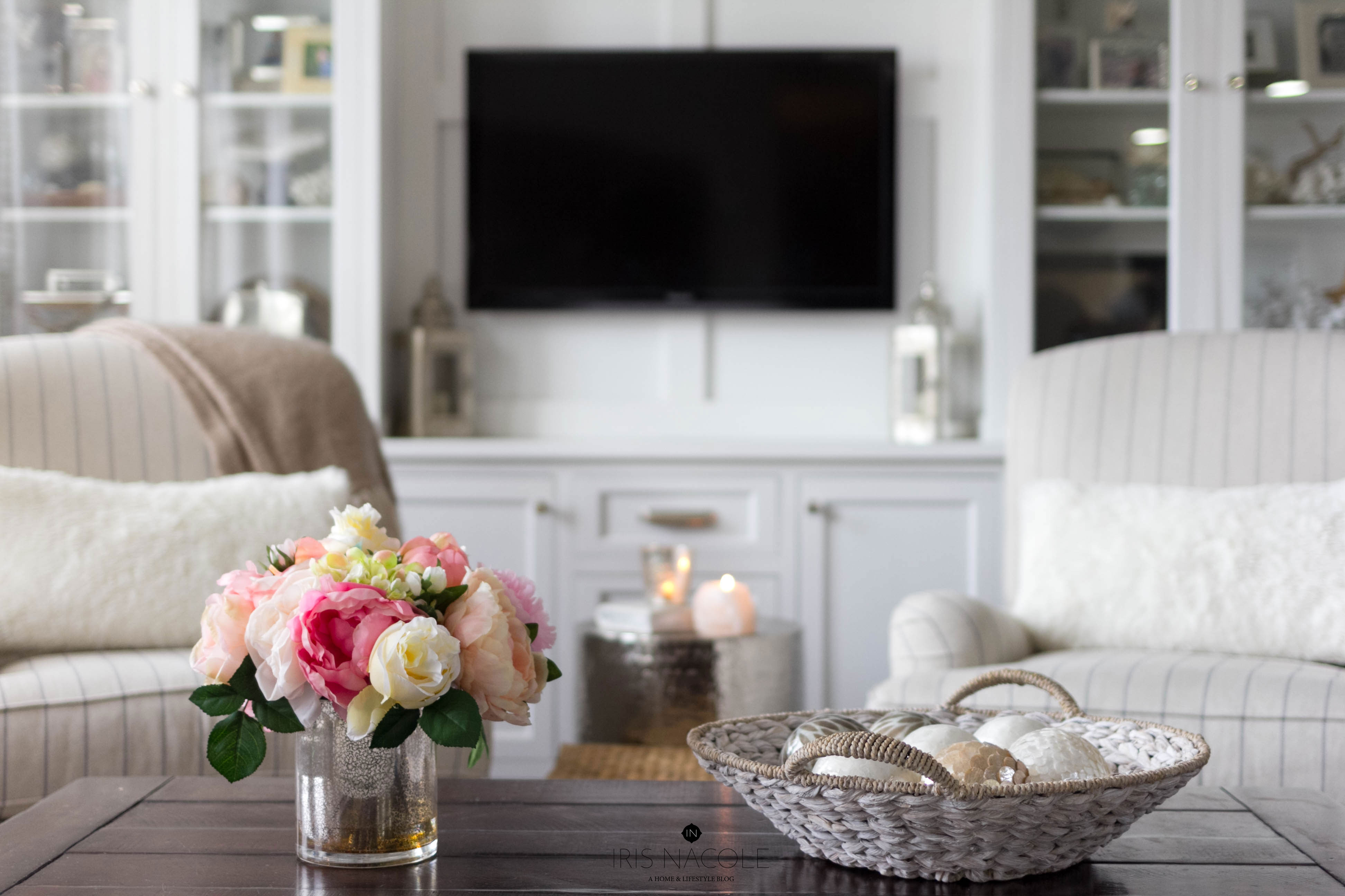 Living Room-Decor-Coffee Table-Pottery Barn-Lamps Plus Florals-Builtins-IrisNacole.com