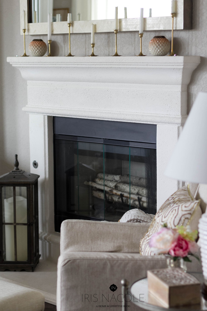 Fireplace-Decor-Living Room-IrisNacole.com-New Year, New Room Challenge