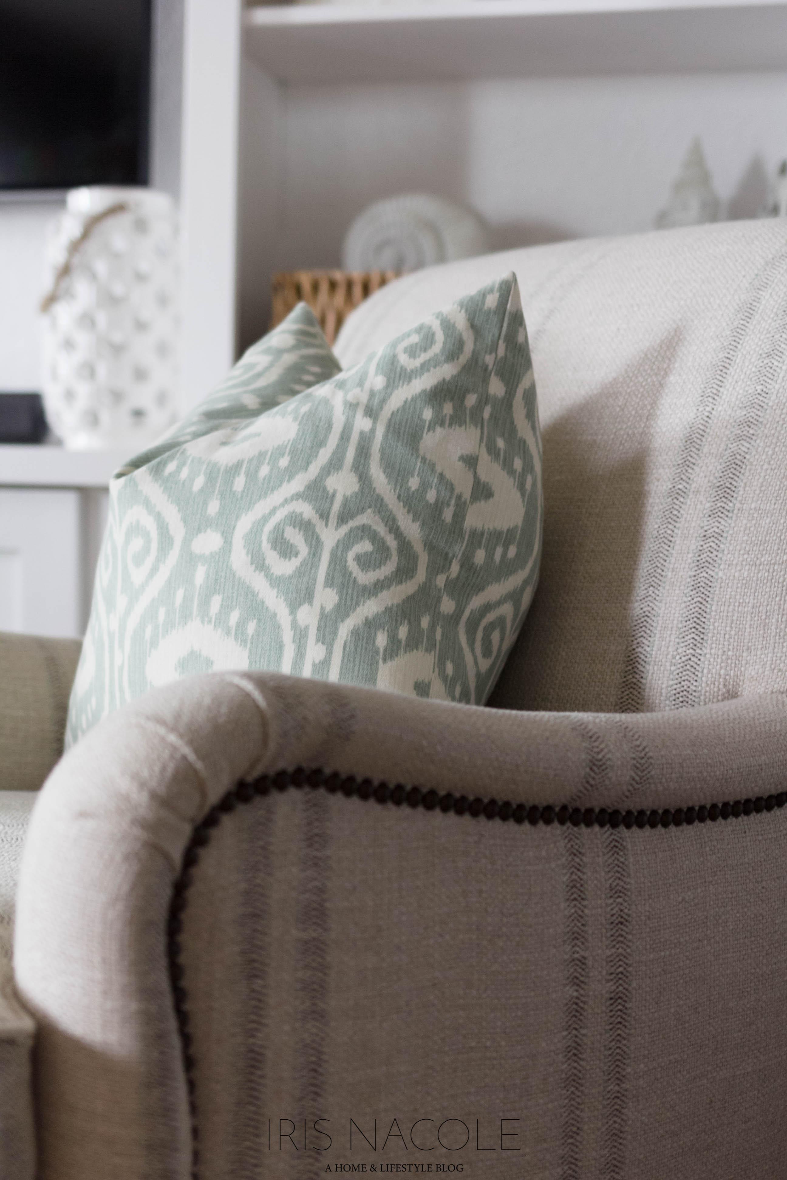 Coastal Themed Family Room Makeover-Shop the House-IrisNacole.com