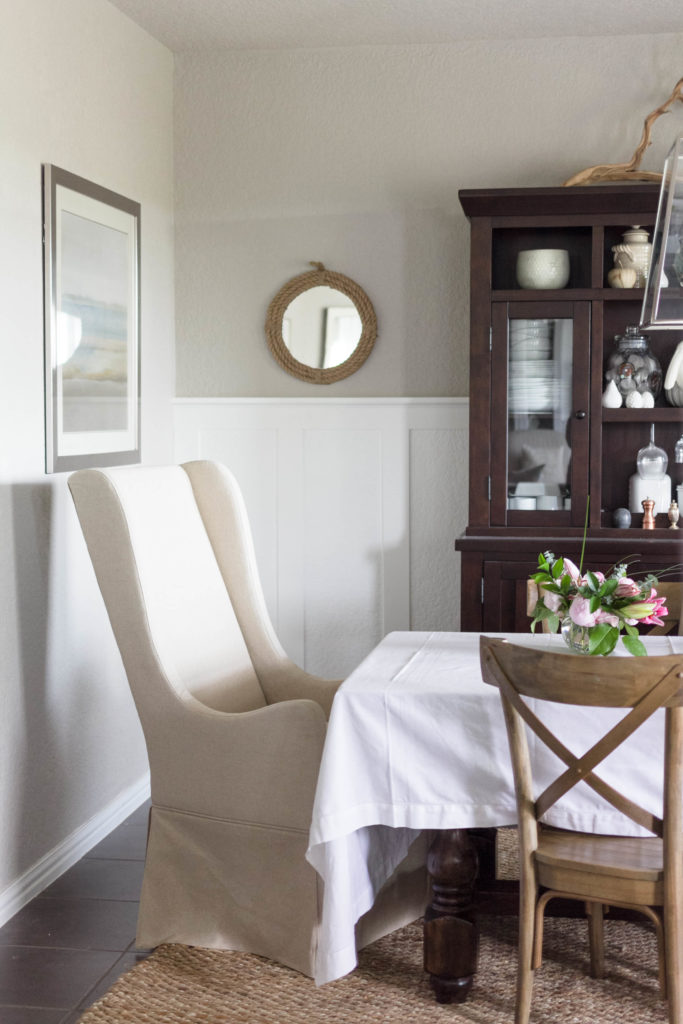Slipcover chair in dining room