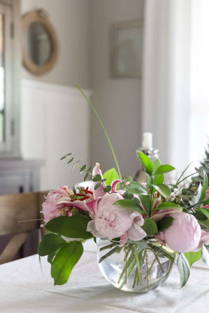 Peonies in floral display for summer tablescape