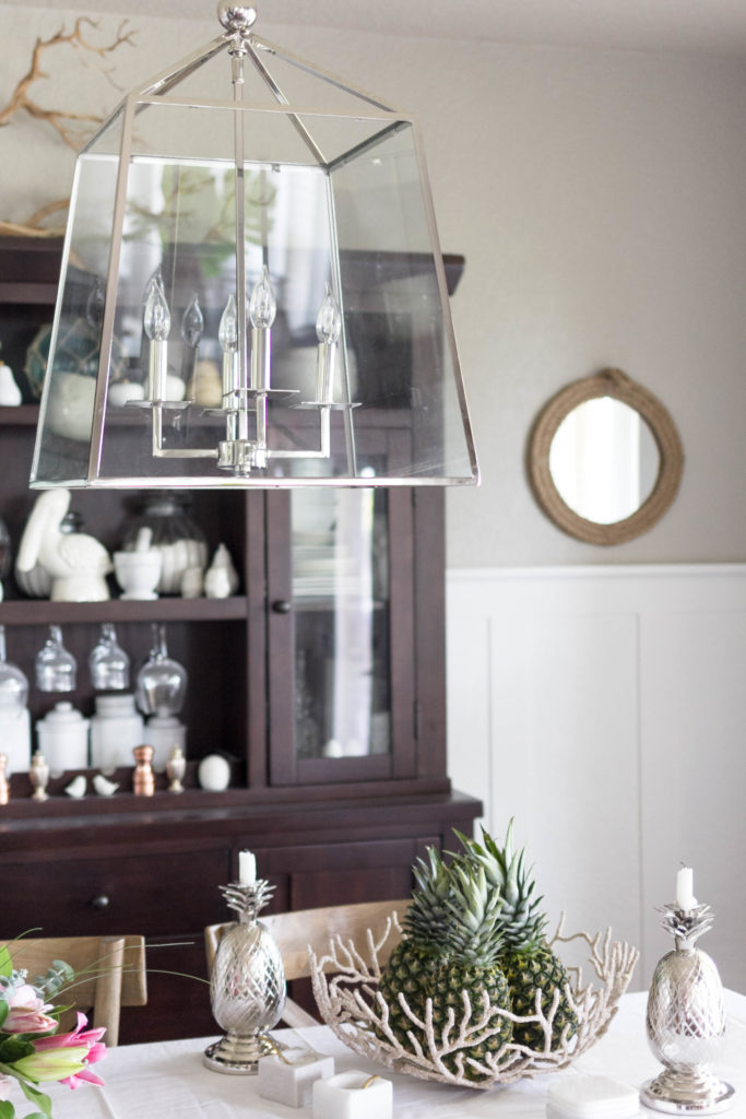 Horchow Lantern Chandelier in dining room