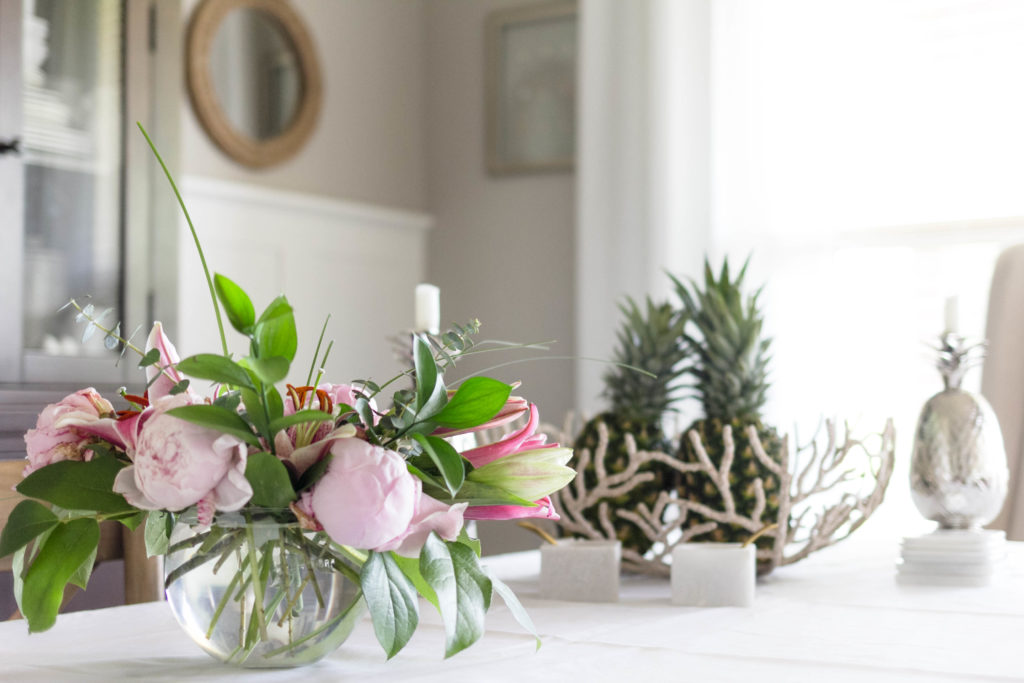 Dining Room Table Decorated for summer