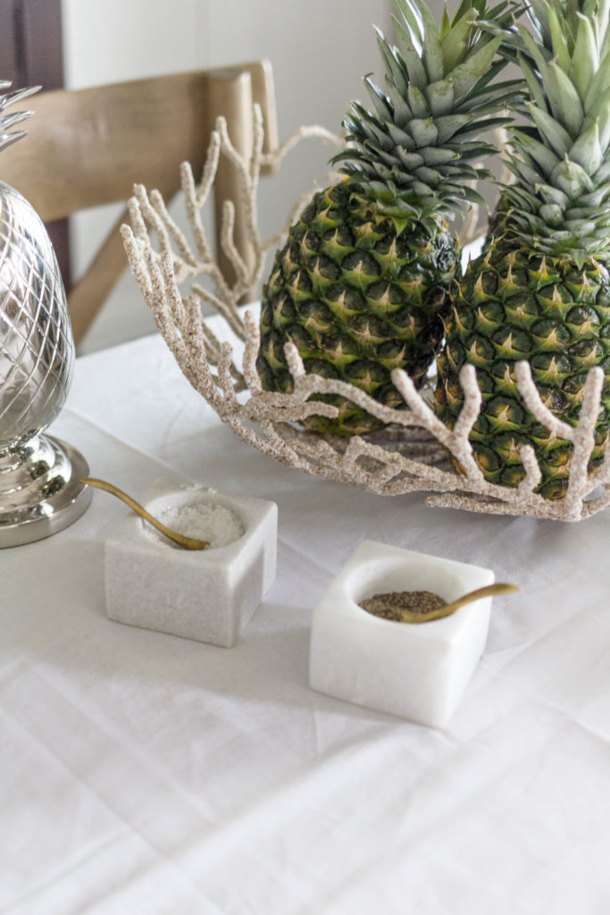 Marble Salt and Pepper Cellars on dining room table