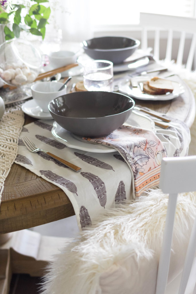 Feather Printed Napkins as base for place setting