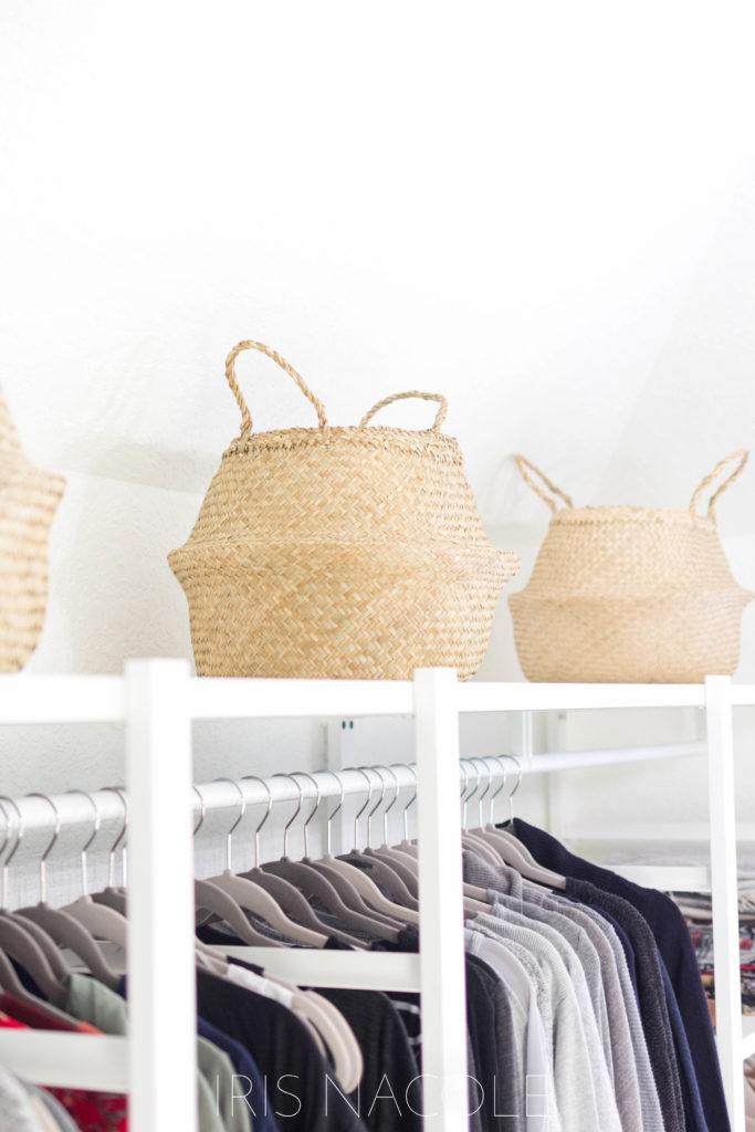 Ikea Baskets as storage in closet, One Room Challenge Boutique Style Closet by IrisNacole.com