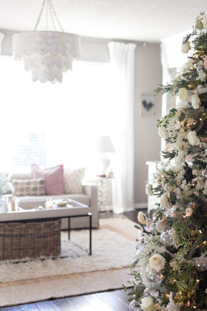 floral tree-bohemain-glam-christmas-home-tour-iris-nacole-living-room-tour