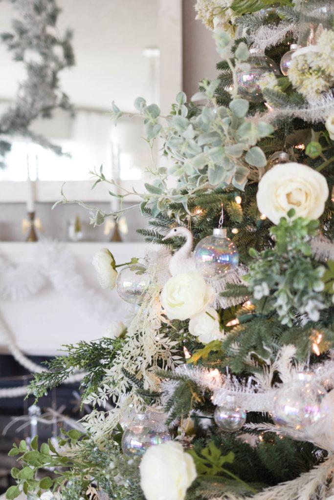 felt swan Christmas decoration-bohemain-glam-christmas-home-tour-iris-nacole-living-room