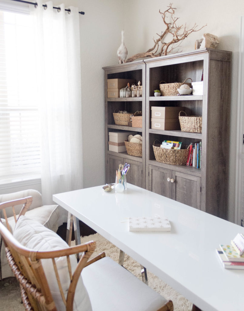 new-year-new-room-office-refresh-a-tropical-chic-home-office-IrisNacole.com-Office-Organization-Target-Bookcases