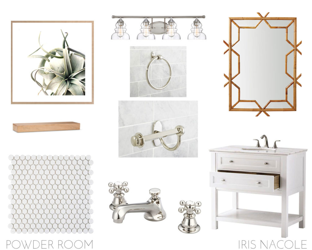 Classic White Powder Room design by IRIS NACOLE