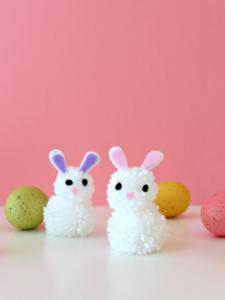 White House Crafts-DIY Pom Pom Bunnies-Easter Craft