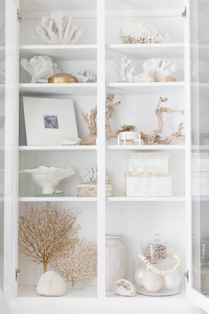 Coastal Bookcase Styling by Iris Nacole