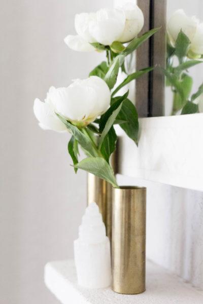 White Peonies Mantel Styling by Iris Nacole