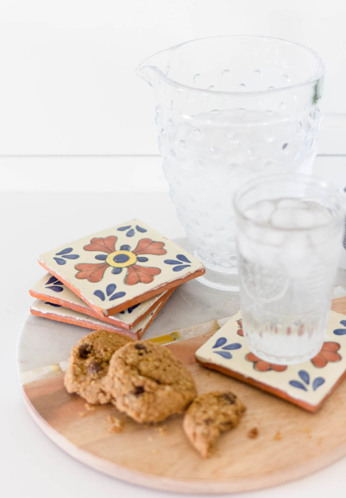 Incorporate Patterned Tile into your decor without replacing you current tile. Try this simple patterned tile coasters instead! Tutorial by IrisNacole.com
