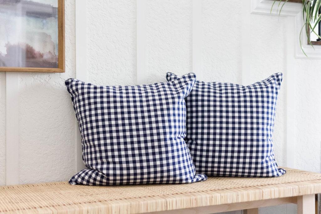 Gingham Pillows Coastal Farmhouse Entryway Bench Design by Iris Nacole