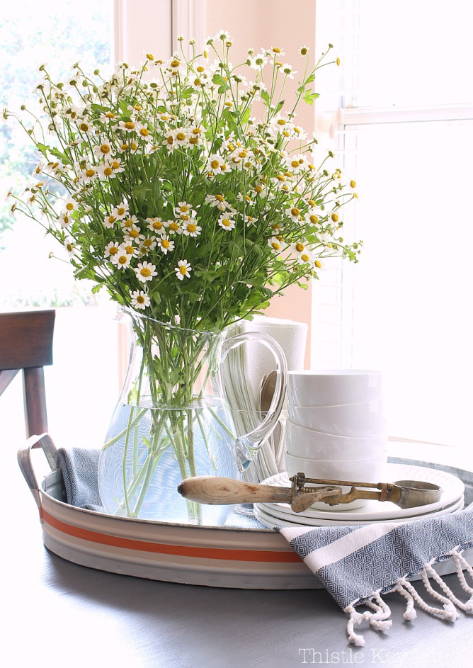 Thistle Key Lane-flowers-white-pitcher-dishes-ice-cream-scoop