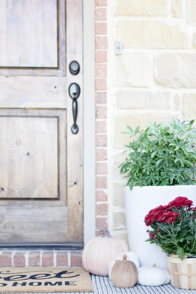 Fall Porch Decorating with Faux Pumpkins
