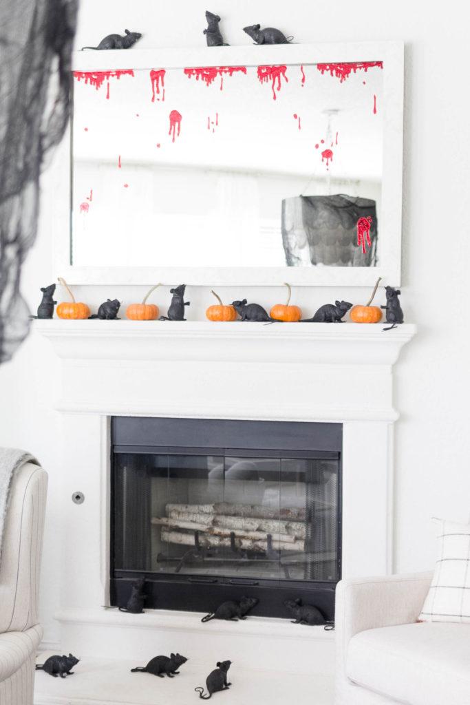 Spooky Halloween Decorations-Fireplace-Rats-IrisNacole.com
