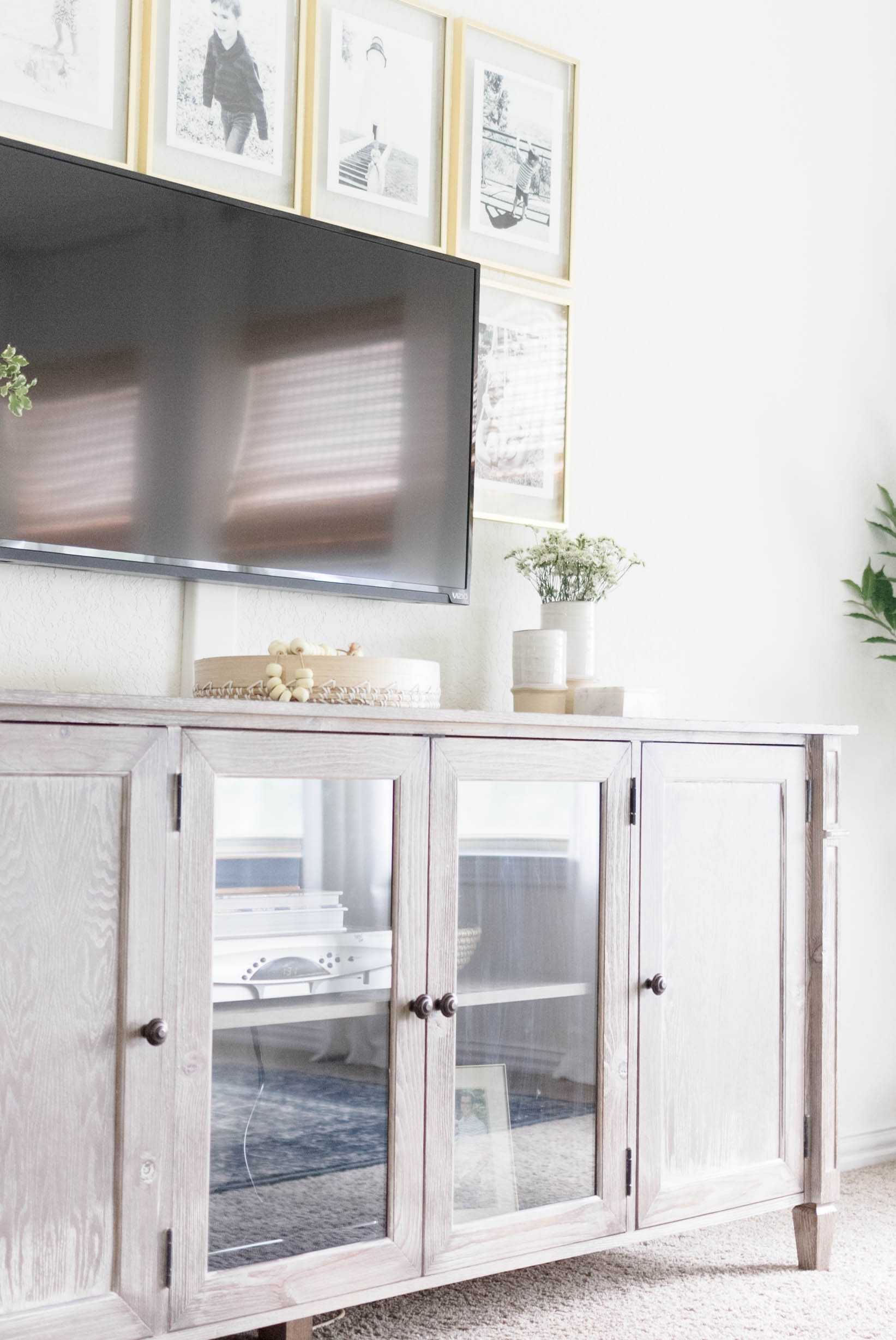 Media Console-Classic Meets California Casual Master Bedroom Makeover One Room Challenge by IrisNacole