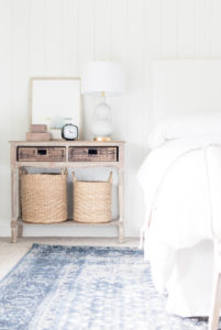 Bedroom Sidetable-Target Armchair-Studio McGee Pillow-Classic Meets California Casual Master Bedroom Makeover One Room Challenge by IrisNacole