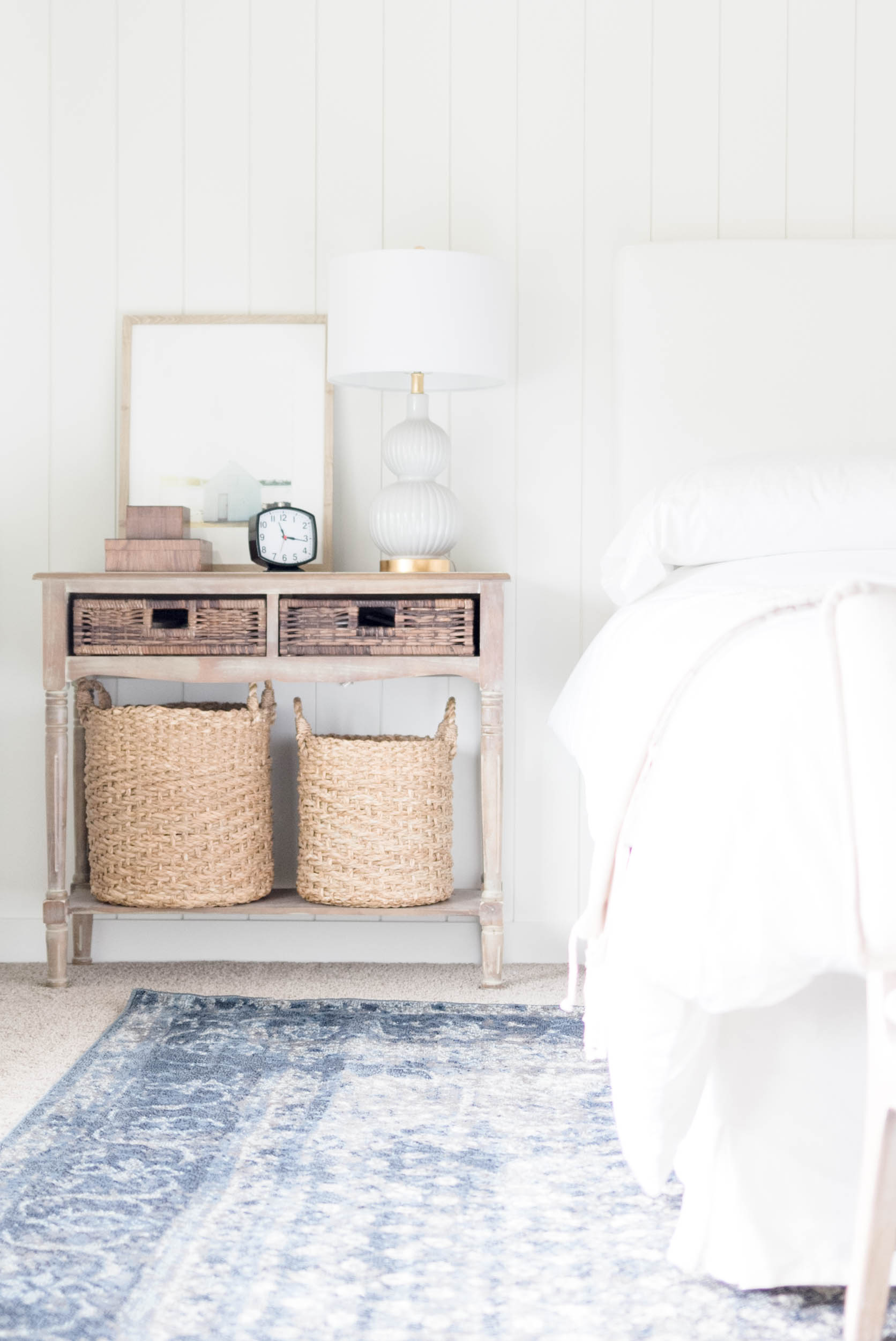 Bedroom Sidetable-Classic Meets California Casual Master Bedroom Makeover One Room Challenge by IrisNacole