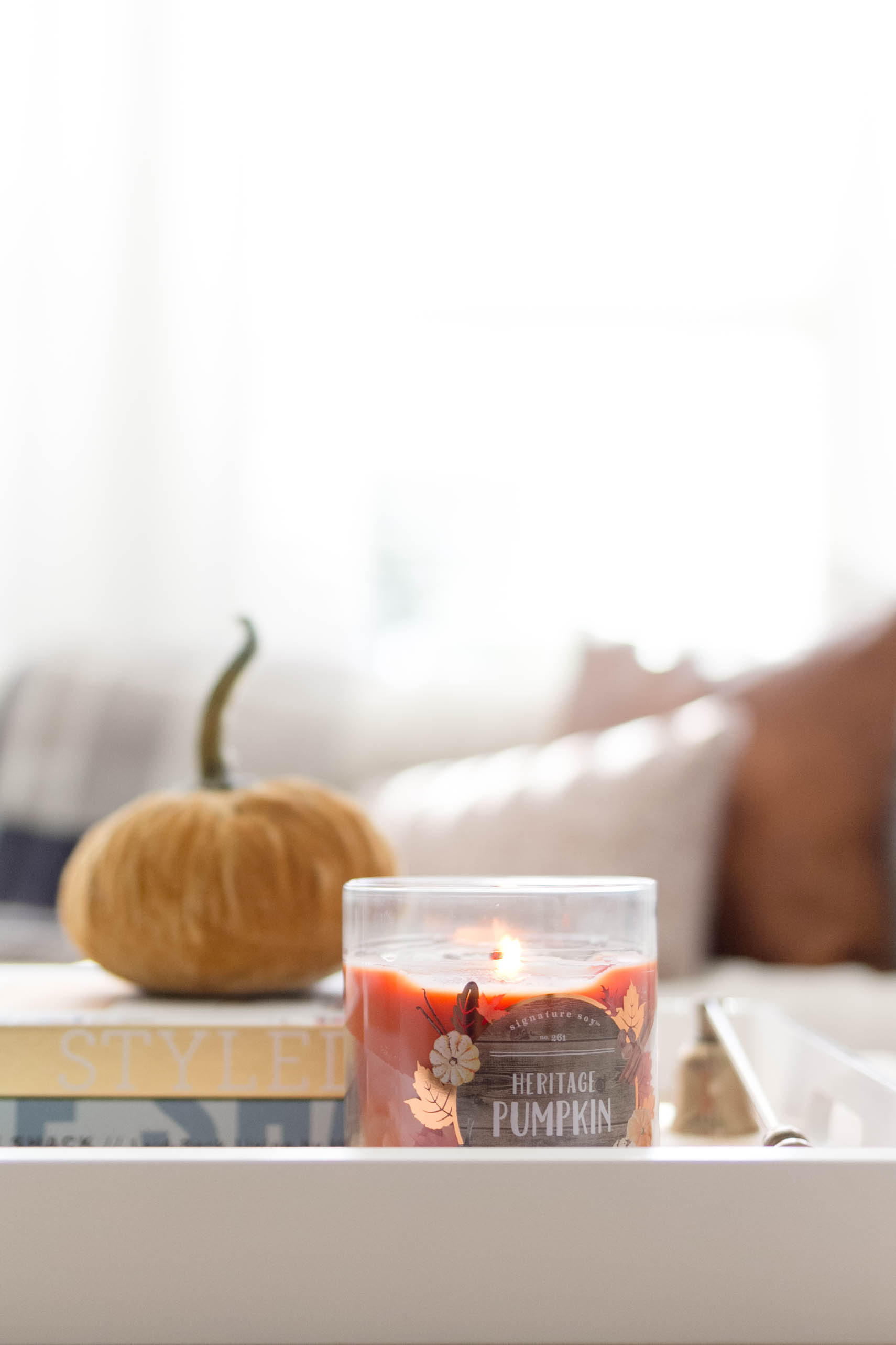 Simple and cozy fall decorating, Living Room Tour-IrisNacole.com-Coffee Table Decor