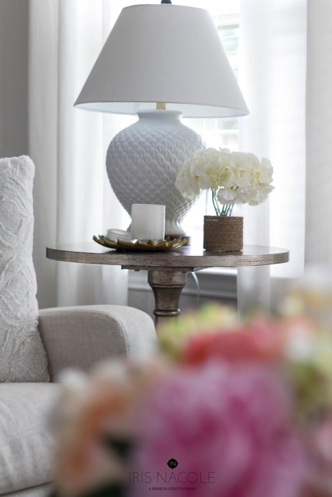 Side Table Decor-Living Room-IrisNacole.com-New Year, New Room Challenge