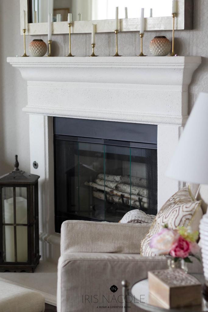 Fireplace-Decor-Living Room-IrisNacole.com-New Year, New Room Challenge