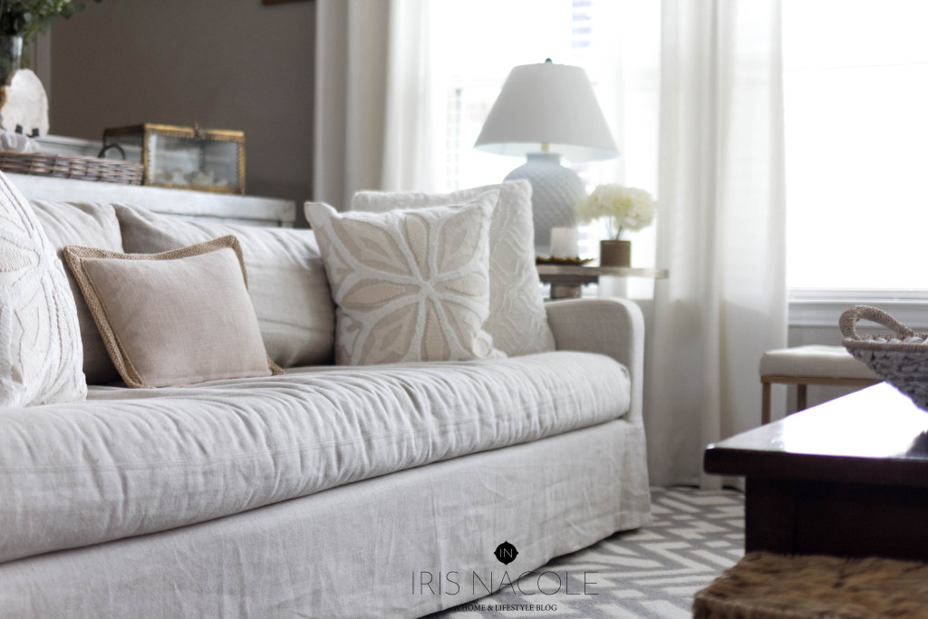 Restoration-Hardware-Slipcover Couch-IrisNacole.com-New Year, New Room Challenge