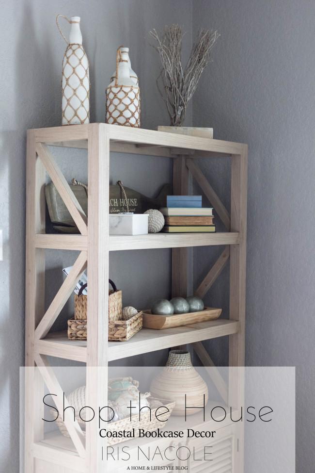 Bookcase Styling, Coastal Bookcase, Bookcase, Coastal