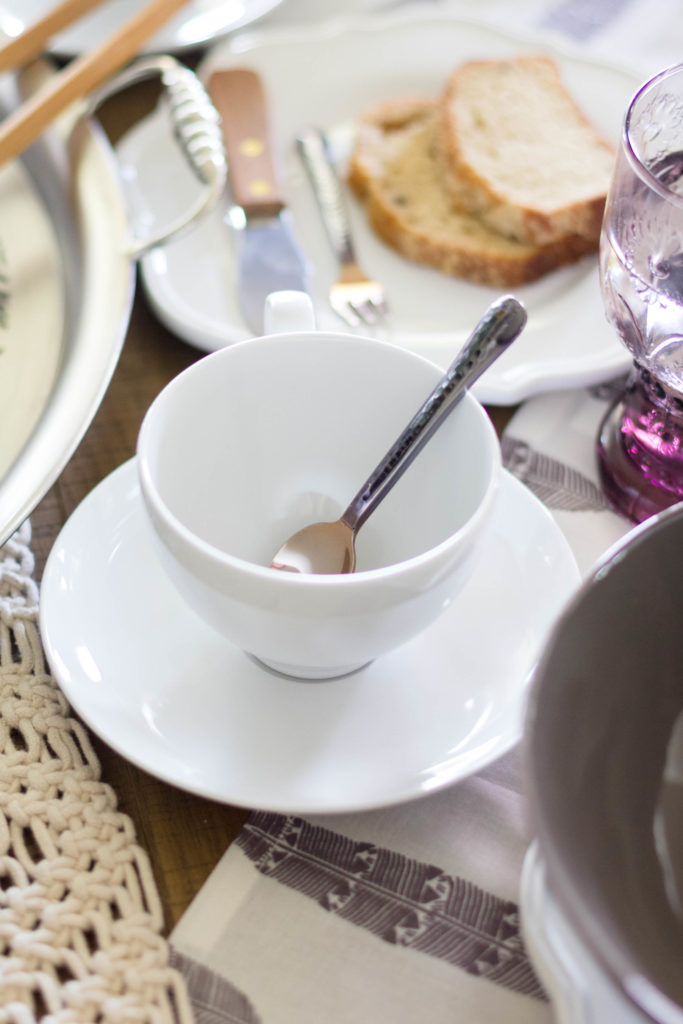 Coffee Cup and Saucer with small serving gold serving spoon