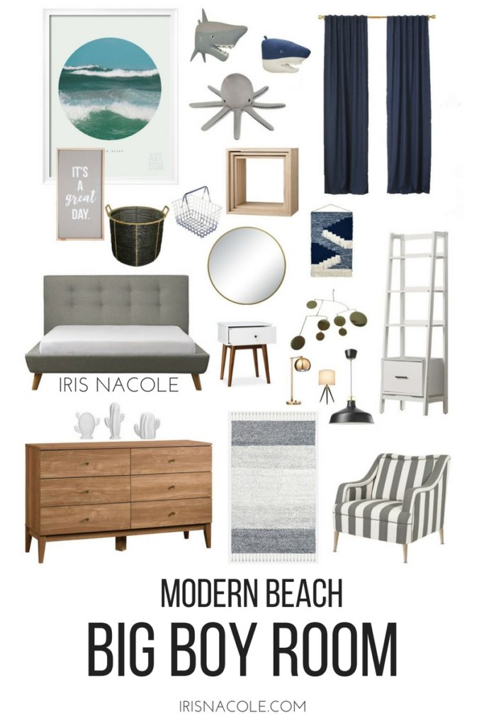 Modern Beach Big Boy Bedroom Makeover-MoodBoard-IrisNacole.com