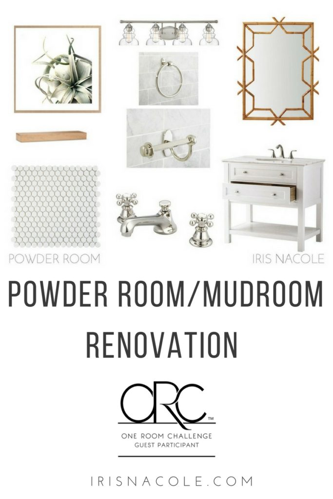 One Room Challenge Powder Room-Mudroom Renovation IrisNacole.com