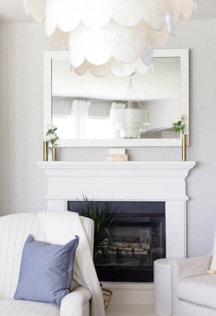 White Peonies Mantel Styling by Iris Nacole