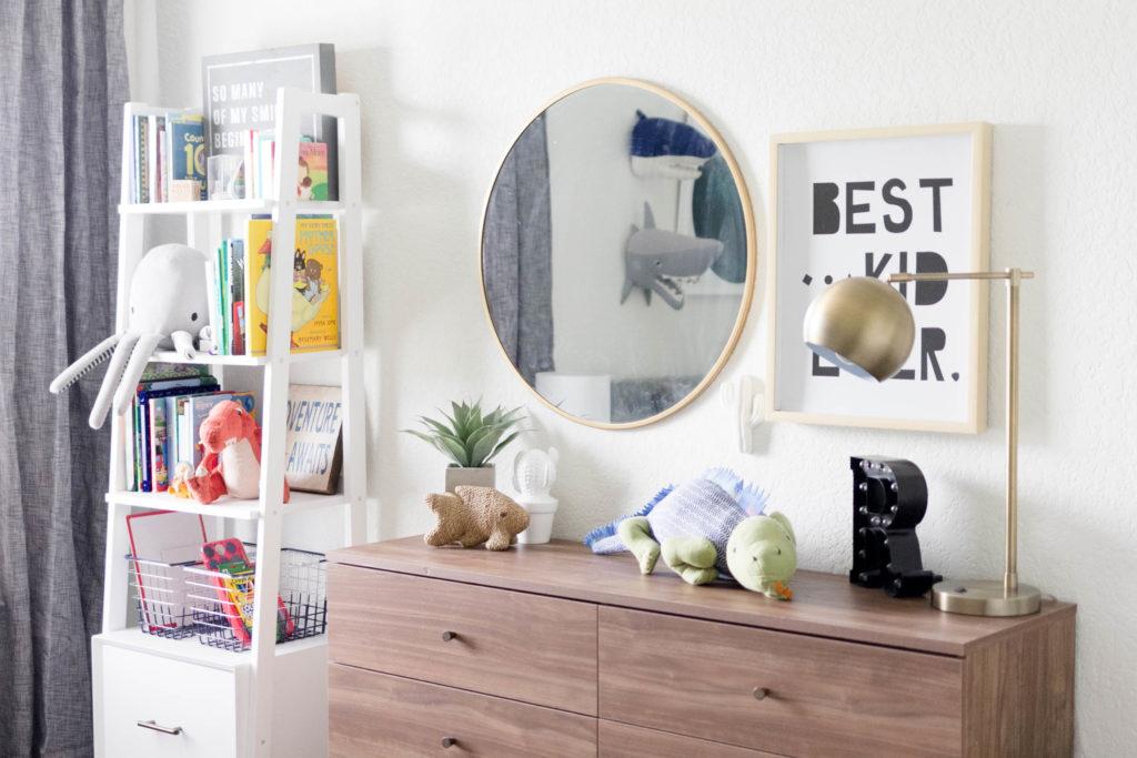 Modern Beach-Big Boy Bedroom-Makeover-Home Makeover-Kids Bedroom Inspiration-Storage-Mirror-Art-IrisNacole.com