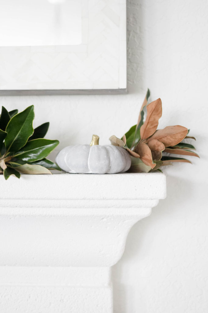Simple Fall Decorating-Cement Pumpkins and Magnolia Branches by IrisNacole.com