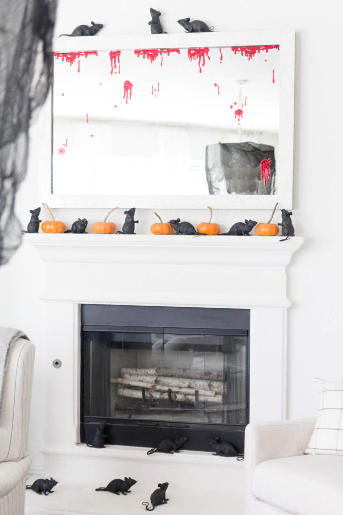 Spooky Halloween Decorations-Fireplace-Rats-IrisNacole.com