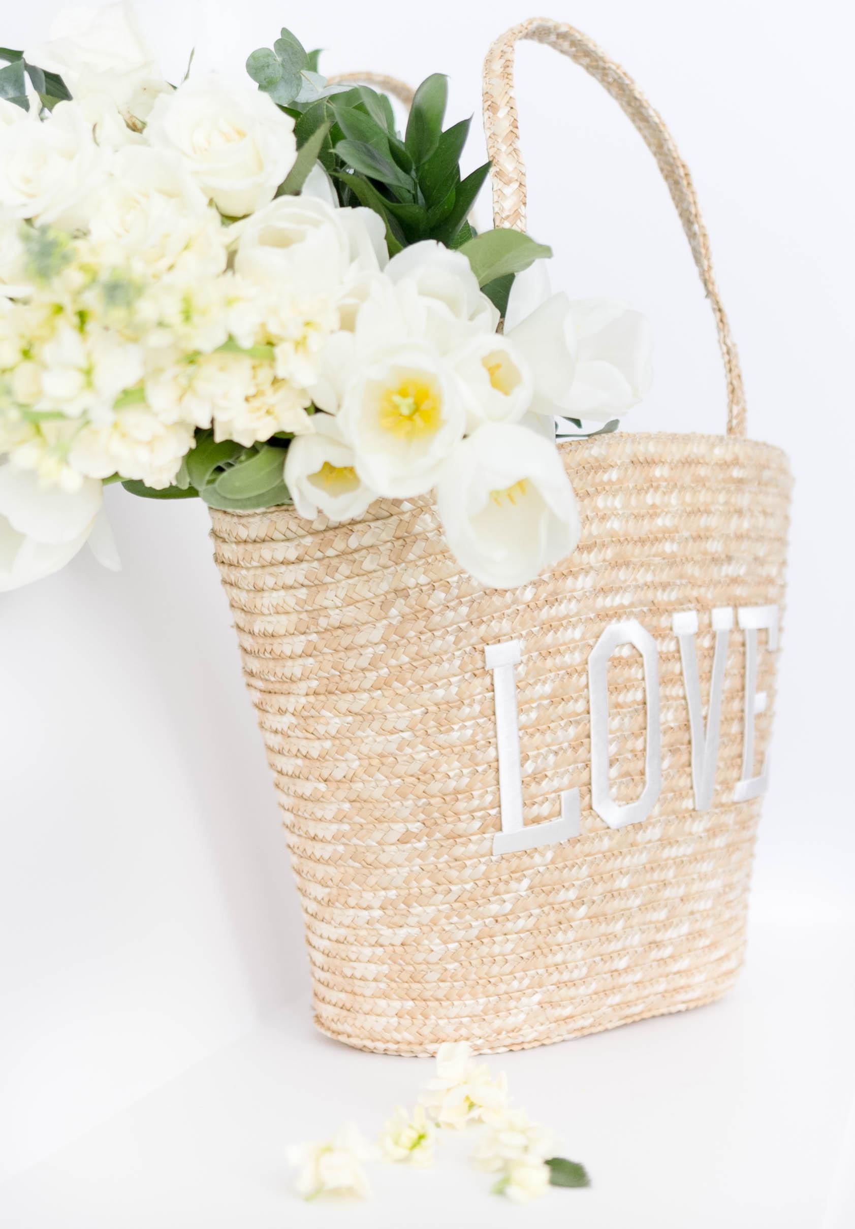 Simple Valentine's Day Craft, L-O-V-E Straw Tote by IrisNacole.com