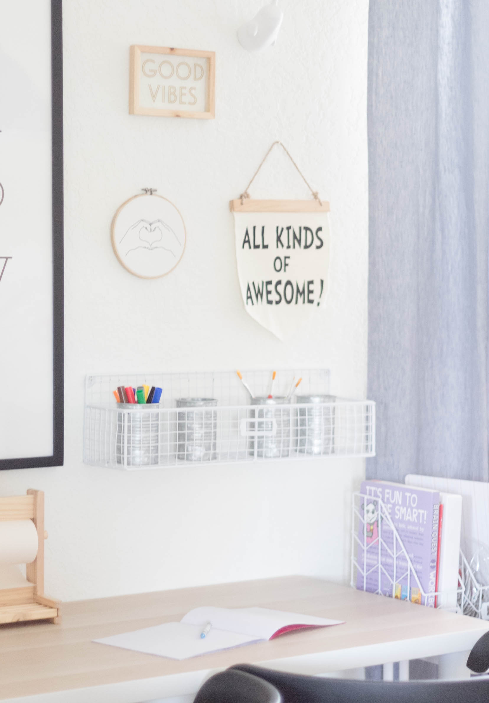 Gallery Wall-Colors-Paint-Marker-Storage-Education Station-Playroom Makeover by IrisNacole.com
