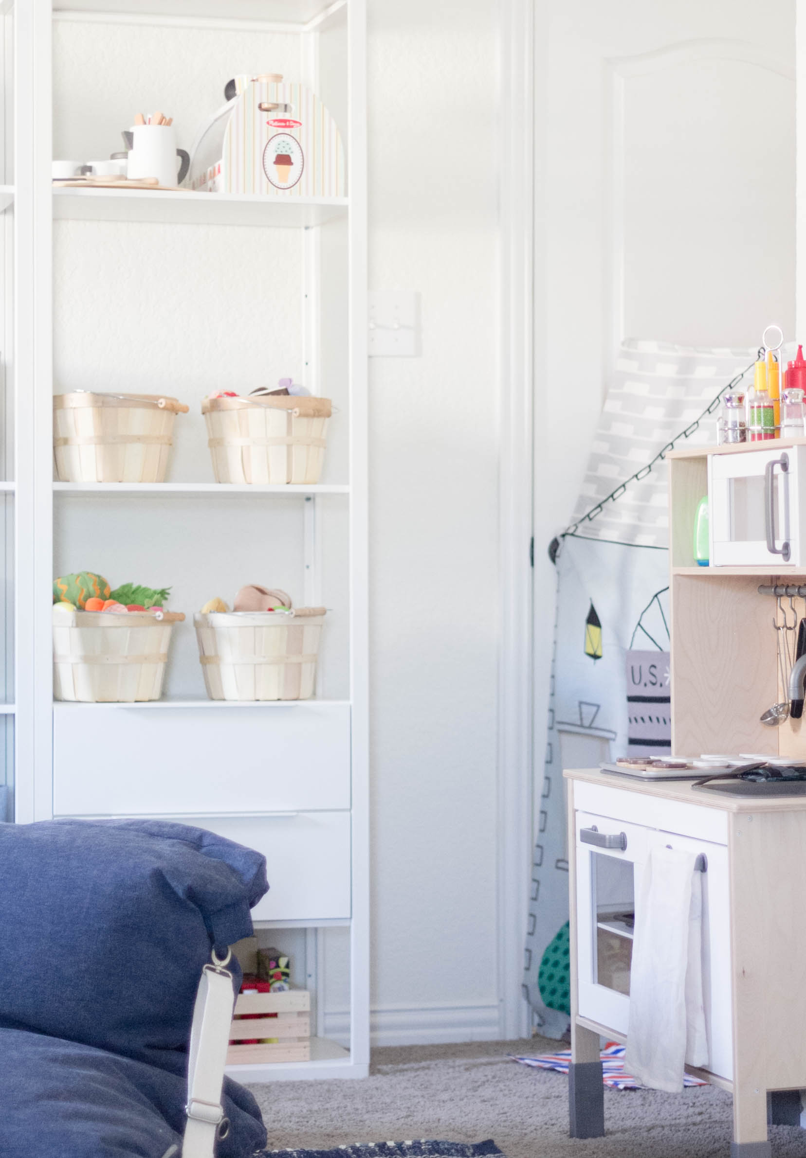 Imaginative Play Station-Playroom Makeover by IrisNacole.com
