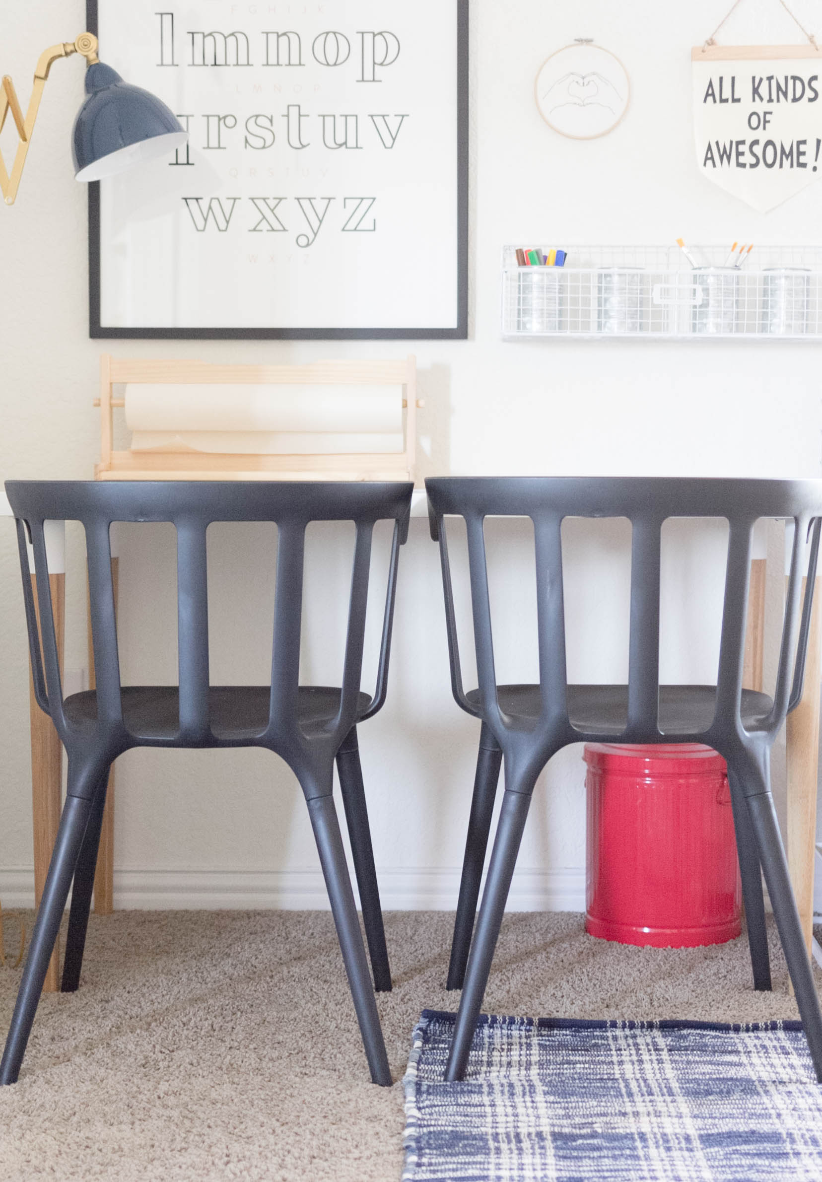 Education Station-IKEA Desk and Chairs-Gallery Wall-Framed Alphabet-Playroom Makeover by IrisNacole.com
