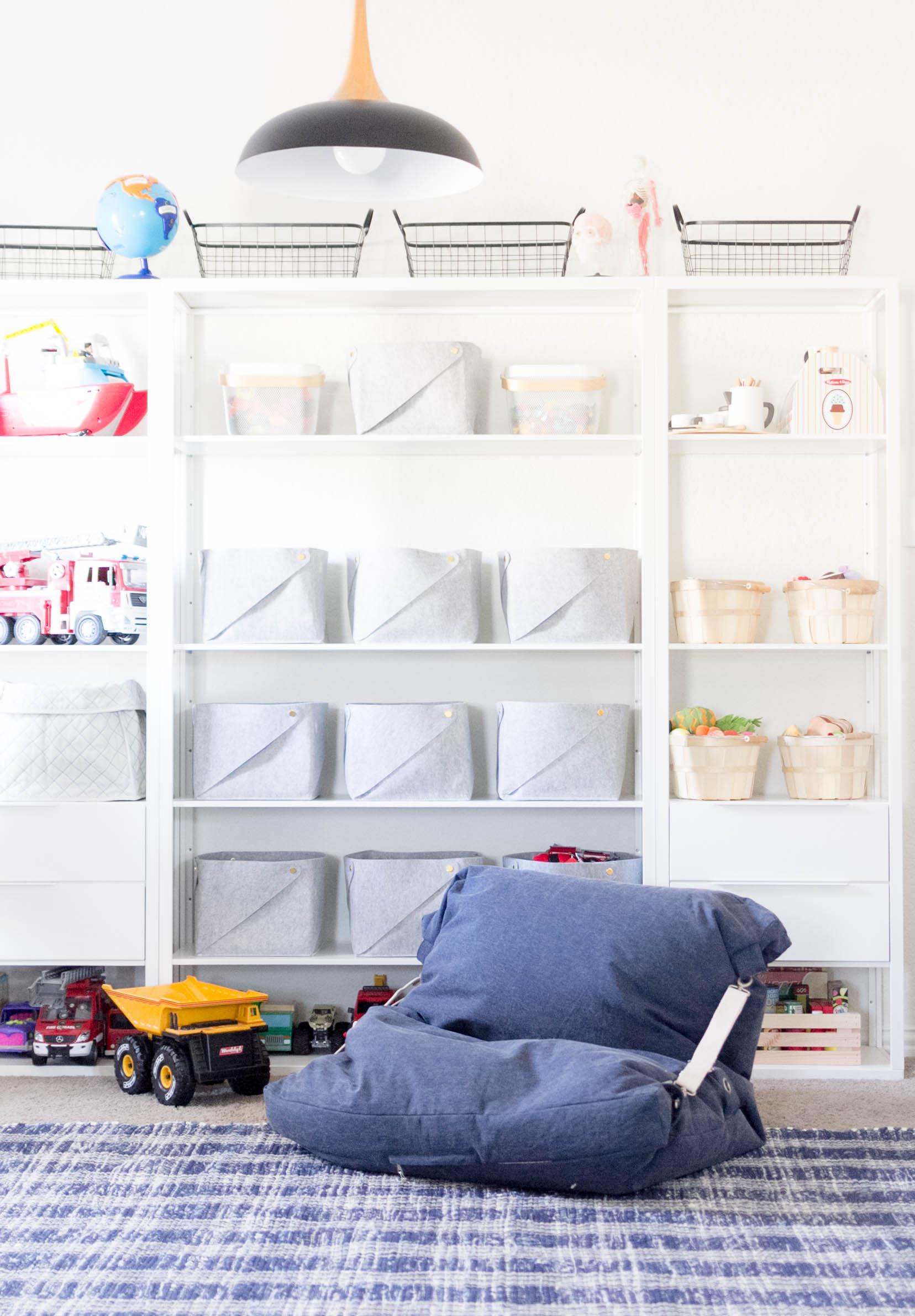 Playroom Organization, Ikea Shelving with Felt Bins, Land of Nod Bean Bag Chair, Makeover by Iris Nacole