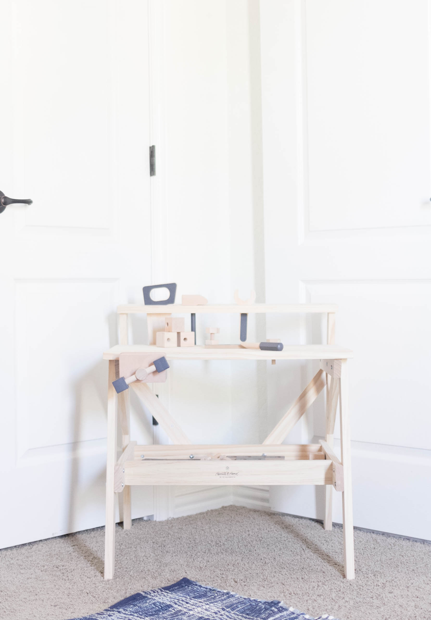 Hearth & Hand Workbench-Playroom Makeover by IrisNacole.com